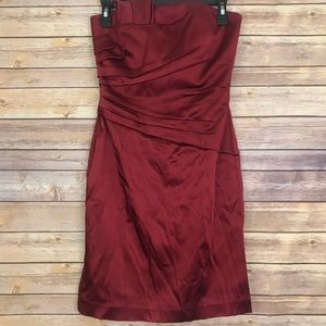 WHBM Red Strapless Cocktail Holiday Party Dress 2